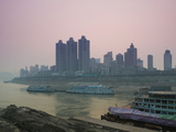 Yangtze River Cruise Ships at River Port Area at Dusk, Chaotianmen Square, Chongqing, Yangtze Ri... Photographic Print