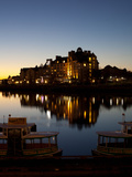 Buildings the Waterfront Lit Up at Night, Inner Harbour, Victoria, British Columbia, Canada Photographic Print