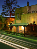 Traditional Buildings with Traffic at Dusk, Santa Fe, New Mexico, USA Photographic Print