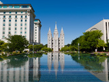 Reflection of a Church in a Lake, Mormon Temple, Temple Square, Salt Lake City, Utah, USA Photographic Print