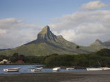 Boats with Mountains in the Background, Montagne Du Rempart, Tamarin, Black River District, Maur... Photographic Print by Green Light Collection