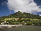 Pier Leading Towards a Village, Vieux Grand Port, Lion Mountain, Mauritius Photographic Print by Green Light Collection