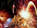 Digital Composite, Fireworks Highlight the Marine Corps War Memorial, Arlington, Virginia, USA Photographic Print by  Panoramic Images