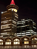 Low Angle View of Buildings Lit Up at Night, Canada Place, Vancouver, British Columbia, Canada Photographic Print