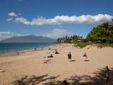 Tourists on the Beach, Makena, Maui, Hawaii, USA Photographic Print