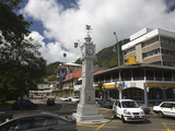 Traffic around a Clock Tower, Victoria, Mahe Island, Seychelles Photographic Print by Green Light Collection