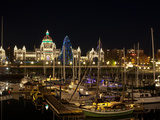 Boats at Inner Harbour with Buildings Lit Up at Night, Parliament Building, Victoria, British Co... Photographic Print