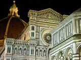 Architectural Detail of a Cathedral at Night, Duomo Santa Maria Del Fiore, Florence, Tuscany, Italy Photographic Print