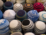 Yarmulkes for Sale at a Market Stall, Jerusalem, Israel Photographic Print