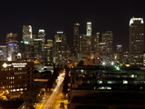 Buildings Lit Up at Night, Los Angeles, California, USA Photographic Print