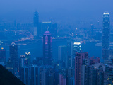 High Angle View of Buildings Lit Up at Dusk, Two International Finance Centre, Central District,... Photographic Print