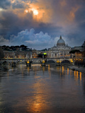 Arch Bridge across Tiber River with St. Peter's Basilica in the Background, Rome, Lazio, Italy Fotografisk tryk