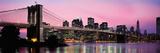 Brooklyn Bridge across the East River at Dusk, Manhattan, New York City, New York State, USA Fotografisk trykk av Panoramic Images,