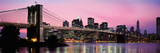 Brooklyn Bridge across the East River at Dusk, Manhattan, New York City, New York State, USA Lámina fotográfica por Panoramic Images,
