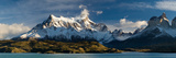 Lake in Front of Mountains, Lake Pehoe, Cuernos Del Paine, Paine Grande, Torres Del Paine Nation... Photographic Print by  Panoramic Images
