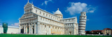 Facade of a Cathedral with a Tower, Pisa Cathedral, Leaning Tower of Pisa, Pisa, Tuscany, Italy Photographic Print by  Panoramic Images