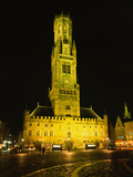 Bell Tower Lit Up at Night, Belfry of Bruges, Bruges, Belgium Photographic Print