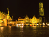 Market Square Lit Up at Night, Belfry of Bruges, Bruges, Belgium Photographic Print