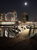 Science World at Telus World of Science Lit Up at Night, False Creek, Vancouver, British Columbi... Photographic Print