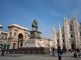 Tourists at a Town Square, Duomo Di Milano, Plaza Del Duomo, Milan, Lombardy, Italy Photographic Print