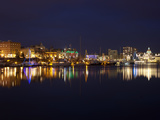 Buildings the Waterfront Lit Up at Night, Parliament Building, Inner Harbour, Victoria, British ... Photographic Print