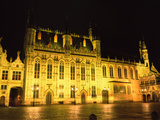 Market Square Lit Up at Night, Bruges, Belgium Photographic Print