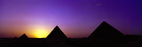 Silhouette of Pyramids at Dusk, Giza, Egypt Fotografisk tryk af Panoramic Images