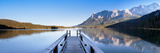 Jetty on the Lake Eibsee with Wetterstein Mountains and Zugspitze Mountain, Bavaria, Germany Photographic Print by  Panoramic Images