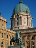 Statue in Front of a Monument, Royal Palace of Buda, Budapest, Hungary Photographic Print