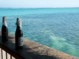 Two Local Beers on Ledge at Popular Bar, Palapa Bar, San Pedro, Ambergris Caye, Corozal District... Fotografisk tryk