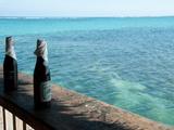 Two Local Beers on Ledge at Popular Bar, Palapa Bar, San Pedro, Ambergris Caye, Corozal District... Fotografisk tryk