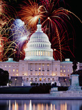 Digital Composite, Firework Display over a Government Building at Night, Capitol Building, Capit... Photographic Print