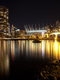 Stadium with Buildings Lit Up at Night, BC Place, False Creek, Vancouver, British Columbia, Canada Photographic Print