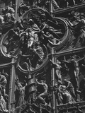 Statues Carved on the Wall of a Church, Duomo Di Milano, Milan, Lombardy, Italy Photographic Print