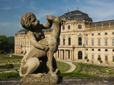Cherub with Dog Statue in Front of a Palace, Wurzburg Residence, Wurzburg, Lower Franconia, Bava... Photographic Print