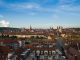 High Angle View of Buildings with Old Main Bridge, Wurzburg, Lower Franconia, Bavaria, Germany Photographic Print