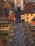 High Angle View of Old Main Bridge and Wurzburg Cathedral, Wurzburg, Lower Franconia, Bavaria, G... Photographic Print