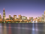 Skyscrapers Lit Up at Night at the Waterfront, Lake Michigan, Chicago, Cook County, Illinois, USA Photographic Print by Panoramic Images