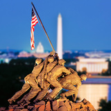 Digital Composite, Iwo Jima Memorial with Washington Monument in the Background, Arlington Natio... Photographic Print