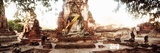 Large Buddha Statue Adorned with Cloth and Flowers in the Ancient Ruins of Ayutthaya Historical ... Photographic Print by  Panoramic Images