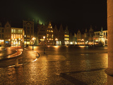 Market Square Lit Up at Night, Bruges, Belgium Photographic Print