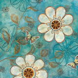 Blue Posies I Print by Nan 
