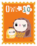 Animal Stamps - Owl Poster by Jillian Phillips