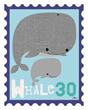 Animal Stamps - Whale Plakat autor Jillian Phillips