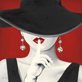Cappello con tesa larga su sfondo rosso I Stampe di Marco Fabiano