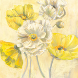 Gold and White Contemporary Poppies I Prints by Carol Rowan