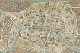 Monuments of Paris Map - Blue Affiches par Hugo Wild