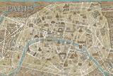 Monuments of Paris Map - Blue Affiches par Hugo Wild