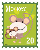 Animal Stamps - Monkey Posters by Jillian Phillips