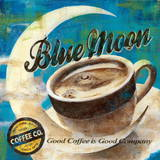 Blue Moon Coffee Print by Maria Donovan